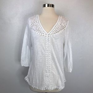 Lucky Brand White Crochet Trim Blouse